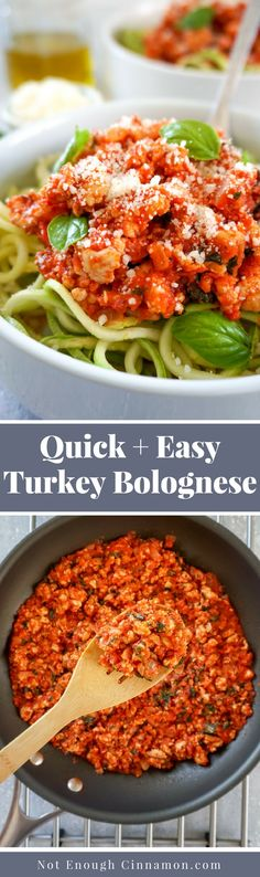 A quick and easy turkey bolognese sauce made with lean ground turkey, healthy olive oil and fresh marinara that you can make in 20 minutes. Serve them with zucchini pasta aka zoodles for a healthy, low carb and gluten free meal Turkey Bolognese, Bolognese Recipe, Bolognese Sauce, Gluten Free Recipes, Low Carb Recipes, Healthy Recipes, Zucchini Pasta Recipes, Vegan Zucchini, Zoodle Recipes