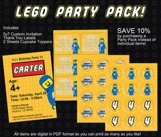 Lego Movie Party Pack! Invitation, Thank You Labels, and Cupcake Toppers! on Etsy, $16.20
