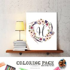 letter H baby nursery art monogram logo personalized gift baby name initial art print DIY