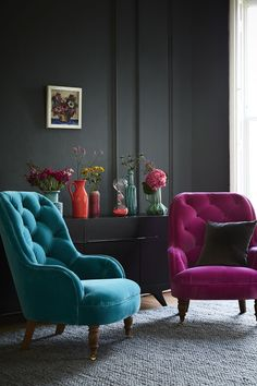Our Penelope armchair, with its high, tufted back makes it one comfy place to take the weight off your feet and its smart, turned legs are a lovely traditional feature. Penelope would work brilliantly as an accent chair to offset larger items around the living room or, alternatively, would sit very pretty in the corner of the bedroom. The Penelope armchair is shown in magenta and teal velvet fabrics, but can be made bespoke in any fabric that you'd like.