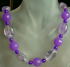 Amethyst c/w Jade Necklace  Amethyst Oval Beads with by camexinc, $45.93