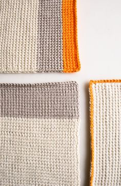 Purl Bee shows how to add a bold orange color to neutrals and use Tunisian Crochet to make unique dishcloths.