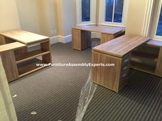 Monarch Natural Reclaimed Look Corner Desk Assembled For A Company Moving  Into Their New Office