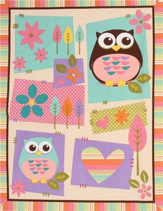 cream owl animal fabric What A Hoot Panel 1