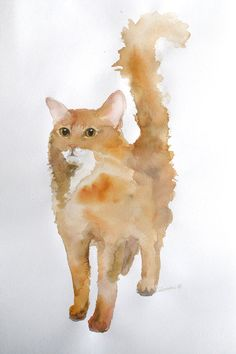 Custom pet portrait - watercolor painting. Art commission. Unique gift for cat or dog lovers. Cute animal pet drawing, watercolour wall art