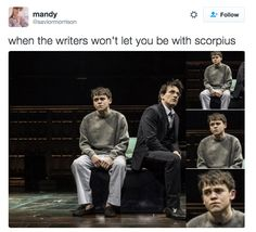TBH, some people are pretty annoyed that the play didn't go there. Guys, Can We Talk About Albus Potter And Scorpius Malfoy For A Second? Harry Potter Cursed Child, Harry Potter Ships, Harry Potter Fandom, Harry Potter World, Harry Potter Memes, Scorpius And Albus, Albus Severus Potter, Scorpius Malfoy, Hermione Granger