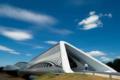 Zaragoza Bridge Pavilion by Fernando Guerra. from Zaha Hadid Architects.