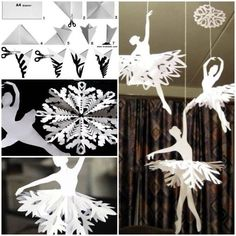 Learn How To Make Paper Snowflake Ballerinas - Find Fun Art Projects to Do at Home and Arts and Crafts Ideas