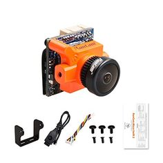 RunCam FPV Camera Micro Swift 2 2.1mm Lens OSD 5-36V FOV 160 Degree CCD NTSC IR Blocked for Racing Drone Quadcopter (Orange)  The world's smallest and lightest CCD FPV camera,Only weight 5.6g  2.1mm Lens, FOV 160°  Support 2S, 3S, 4S, 5S, 6S battery (DC 5 to 36V) Wide voltage Power input  It is suitable for fixed-wing aircraft and Multirotor like QAV250, which are highly required in voltage and weight.  The board size is reduced to 19mm * 19mm * 19mm, which can reduce air resistance fo...