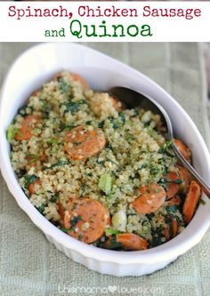 Spinach, Chicken Sausage and Quinoa Recipe- hearty, filling, chock full of protein, vitamins and nutrients, this is a must-bring for pot luck dishes!
