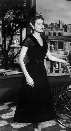 1954   Stunning  Elegant Grace Kelly   Rear Window - Hitchcock   Classic Hollywood Icon   Dame   Diva   Vintage Black Dress