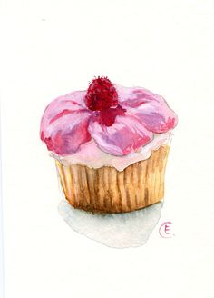 Cupcake 32  Original Watercolor Painting 8x6 by FleurDeParis, $25.00