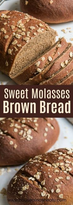 Delicious sliced warm and served with fresh butter, or used as sandwich bread the next day, this sweet molasses brown bread made with whole wheat, molasses and honey is one of our family favorites! #bread #recipe #baking #wheatbread #brownbread #wheat #loaf #sliced #sandwich #brown #molasses #homemade