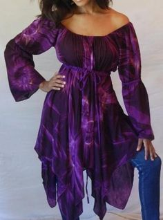 Swirl - Boho Purple Tie Dye Peasant Blouse