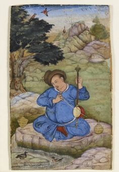 A clean-shaven man wearing a long blue robe and a fur hat of European style. His head is inclined in deep reverie as he plays his kamancheh (a Persian stringed instrument, also popular in Indo-Persian court circles from the 14th to the 17th century).  Attributed to Basawan, one of the leading masters of the Mughal painting workshop under the emperor Akbar (1556-1605). Basawan made a close study of the European prints and paintings which were reaching the Mughal court in growing numbers.