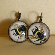 Bee Earrings or Bumblebee Earrings Pierced. $16.00, via Etsy.
