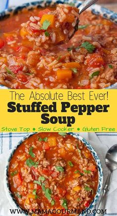 Stuffed Pepper Soup is the best recipe out for an easy, healthy, flavorful, one pot comfort food. Slow cooker directions included as well. easy slowcooker healthy best stuffedpepper glutenfree via 729020258412417127 Crock Pot Recipes, Easy Soup Recipes, Slow Cooker Recipes, Dinner Recipes, Cooking Recipes, Healthy Recipes, Easy Comfort Food Recipes, Easy Healthy Crockpot Meals, Healthy Food