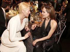 Angelina and her tablemate Tilda Swinton chatted over dinner. Brad And Angelina, Angelina Jolie, Tilda Swinton, Sag Awards, Diane Kruger, Cinema, Celebs, Celebrities, Brad Pitt