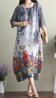 Women loose fitting over plus size butterfly flower dress chiffon tunic pregnant #Unbranded #dress #Casual