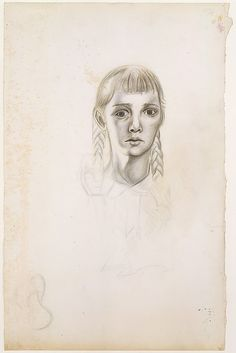 Jackson Pollock ~ Untitled (Girl with Braids), c.1938-39 (colored pencils, graphite pencil, and ink on paper)