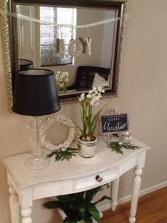 Entryway decor, not sure why these tables are so expensive Hallway Table Decor, Entryway Decor, Entryway Ideas, Living Room Inspiration, Home Decor Inspiration, Decor Ideas, Antique Decor, Front Door Decor, Decorating Small Spaces
