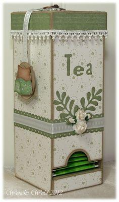 Caixinha de madeira para saquinho de chá, mas pode ser feito com caixinha de leite.