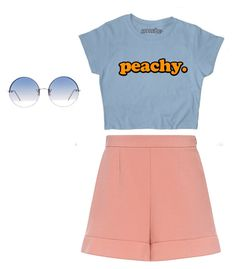 """peachy"" by alannaherrey on Polyvore featuring RED Valentino and Linda Farrow"