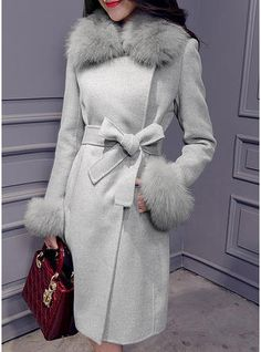 kKissb Hats Casual fashion Winter new Style Women's Clothing thickening plus cotton wool coat Fur collar waistband Woolen long solid Jackets - Brand Name: vangull Fur Coat Outfit, Coat Dress, Winter Fashion Casual, Autumn Fashion, Mode Mantel, Coats For Women, Clothes For Women, Winter Coats Women, Winter Stil