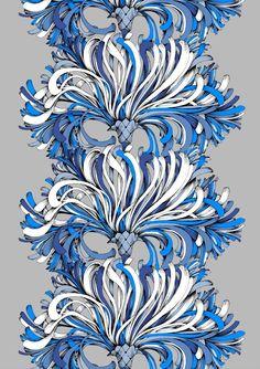 Vallila Interior Lempi blue by Saara Kurkela Vallila Interior Finland All Craft, Blue Fabric, Panel Curtains, Finland, Scandinavian, House Design, Artwork, Flowers, Inspiration