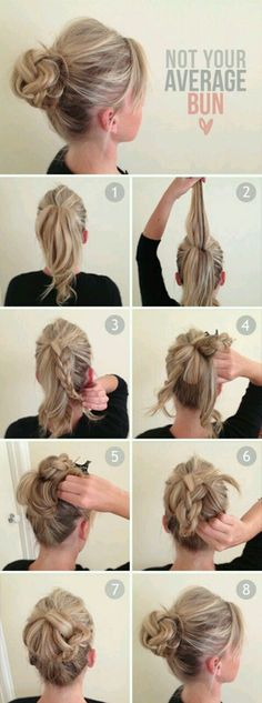 Not your average bun. Braided bun. Hair how to.