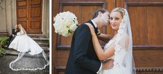 Bride with cathedral length lace veil and her groom in front of First Scots Presbyterian in Charleston SC