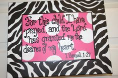 1 Samuel Perfect since it's true and her full name (Eliana) means God has answered My Baby Girl, Baby Love, 1 Samuel 1 27, Baby Album, Wishes For Baby, Christening Gifts, Nursery Wall Art, Zebra Print, Future Baby