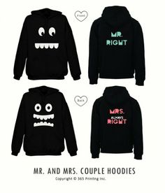 matching hoodie sweatshirts for newlyweds mr right mrs always right couples hoodies - Hoodie Design Ideas