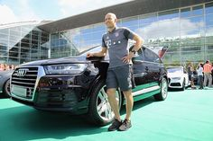 Arjen Robben of FC Bayern poses with his new Audi car during the official car handover at Audi Forum on August 22 2016 in Ingolstadt Germany