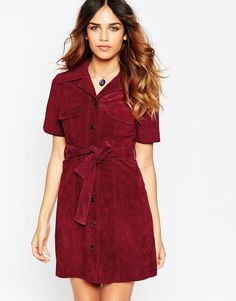 Image 1 of ASOS Suede Shirt Dress http://www.asos.com/ASOS/ASOS-Suede-Shirt-Dress/Prod/pgeproduct.aspx?iid=5327111&cid=19680&sh=0&pge=2&pgesize=36&sort=-1&clr=Oxblood&totalstyles=1496&gridsize=3