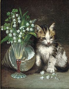 A kitten with a shell and flowers in a glass vase, 1901, by Wilson Hepple (1854-1937)