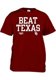 "RED RIVER RIVALRY! Oklahoma Sooners Russell T-Shirt - Cardinal Oklahoma Sooners ""Beat Texas"" Short Sleeve http://www.rallyhouse.com/shop/oklahoma-sooners-16238748?utm_source=pinterest&utm_medium=social&utm_campaign=Pinterest-OUSooners $14.95"