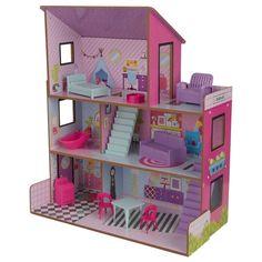 Casuta pentru papusi Lolly - KidKraftCasuta pentru papusi Lolly de la KidKraft este super distractiva la fel cum sunt si copiii care se vor juca, cu ea. Paleta sa de culori luminoase si vesele o vor face cu siguranta remarcata. Modelele grafice geometrice sunt dispuse peste tot, de la Kids Doll House, Imagination Toys, Sims 4 Houses, Childrens Beds, Room Accessories, Dollhouse Furniture, New Toys, Kids Furniture, Pink Purple