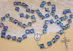 Crystal Clover Rosary - Crystal Glass Clover Blue Beads - Czech Blue & Crystal Beads - Italian Fatima Center - Italian Filigree Crucifix by JMJBlessedBeads on Etsy Beaded Jewelry, Beaded Bracelets, Mourning Jewelry, Evil Eye Jewelry, Religious Jewelry, Blue Beads, Jewelry Supplies, Crystal Beads, Rosary Beads