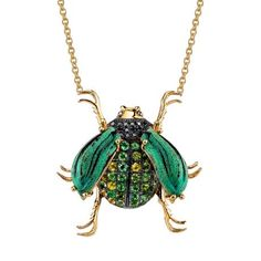 18k Yellow Gold necklace with Black Diamonds, Green Tourmaline and real Eupholus Cuvieri wings