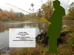 05-WC-0665 - Fisherman Waiting 4 ft Tall Yard Art Silhouette Woodworking Pattern