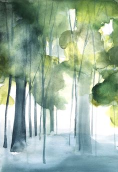 50% Off SALE - Landscape Painting - Grove II - Original Watercolor Painting - 17x12 - Forest - Woods - Birch Trees - Nature - Abstract Ar...