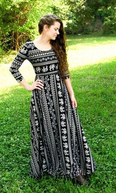 26d0456c Reneeta is a unique and modest elephant print maxi dress with sleeves and a  flared finish. These amazing dresses are available in rust and black S-XL.