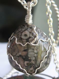 Crinoide stone pendant wire wrapped in sterling silver & silver necklace
