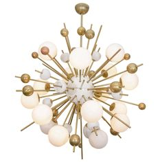 20th Century Large Stilnovo Style Italian Sputnik Chandelier | From a unique collection of antique and modern chandeliers and pendants  at https://www.1stdibs.com/furniture/lighting/chandeliers-pendant-lights/