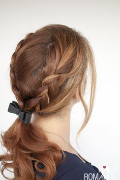 Hair Romance - Braid ponytail with bow - click through for the full tutorial