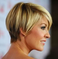 Jenna Elfman short hair, side view