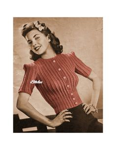 PDF Knit Pattern only. Available via instant download after purchase. Vintage 1940 Ribbed Button Front Sweater with Puffy Short Sleeves knit pattern. Size: 14, 16, 18, 20 Bust (buttoned): 33 ½, 35 ½, 37 ½, 39 ½ inches Width across back at underarms: 16 ½, 17 ½, 18 ½, 19 ½ inches Width