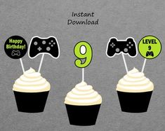 Etsy :: Your place to buy and sell all things handmade Boys 8th Birthday, 19th Birthday, Birthday Games, Happy Birthday Banners, Birthday Cupcakes, Off Game, Printable Banner, Party Signs, Decoration