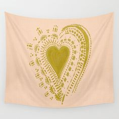 Blush Pink Gold Heart Wall Tapestry pink wall tapestry by lake1221